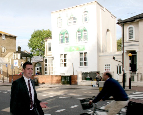 Councillor Simon Hogg outside Falcon Road Mosque