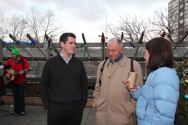Ken Livingstone and Simon Hogg at the Doddington Community Garden Christmas Fair