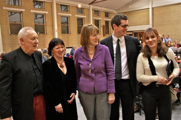 Latchmere councillors Tony Belton, Wendy Speck and Simon Hogg with Harriet Harman MP and Senia Dedic in York Gardens Library