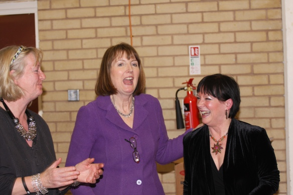 Wendy Speck and Harriet Harman in York Gardens Library
