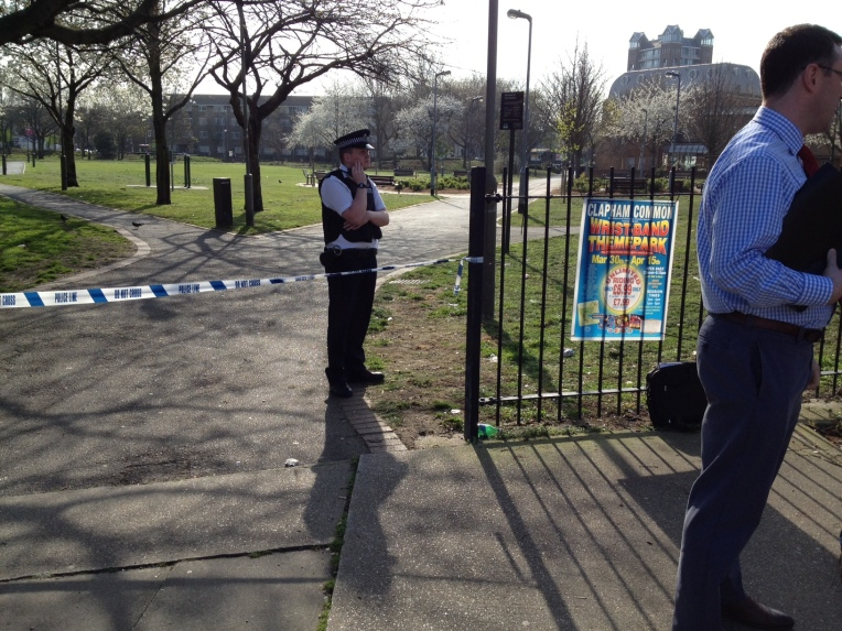 Police cordon off York Gardens after a shooting