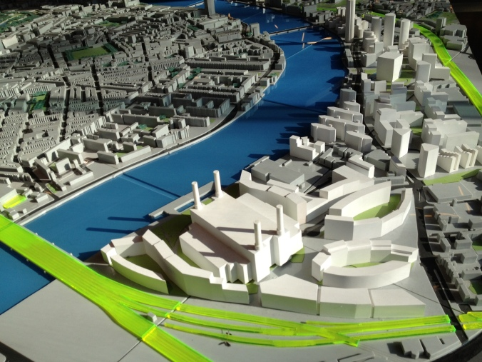 Model of the Nine Elms development, from Battersea Power Station up to Vauxhall