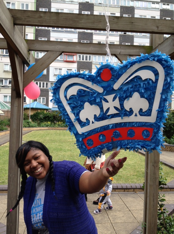Simone with the Royal pinata in the Doddington Roof Garden