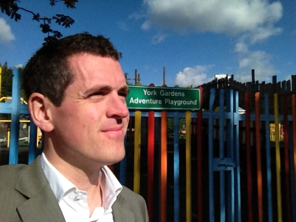 Councillor Simon Hogg at York Gardens Adventure Playground on its last weekend