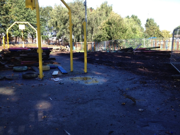 The scene of destruction at York Gardens Adventure Playground, Saturday October 6