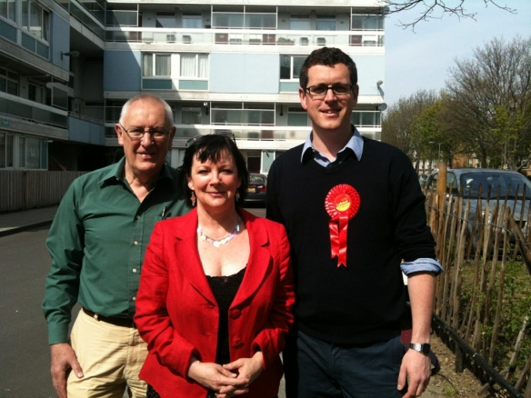 Tony Belton, Wendy Speck and Simon Hogg on the Winstanley Estate