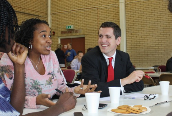 Councillor Simon Hogg listens to ideas for improving the local area
