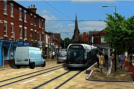 An artist's impression of the new Beeston tram