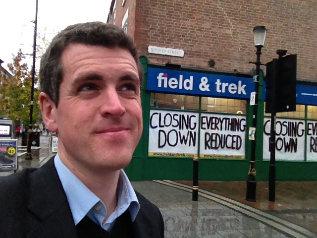 Simon outside one of the less fortunate shops in Beeston