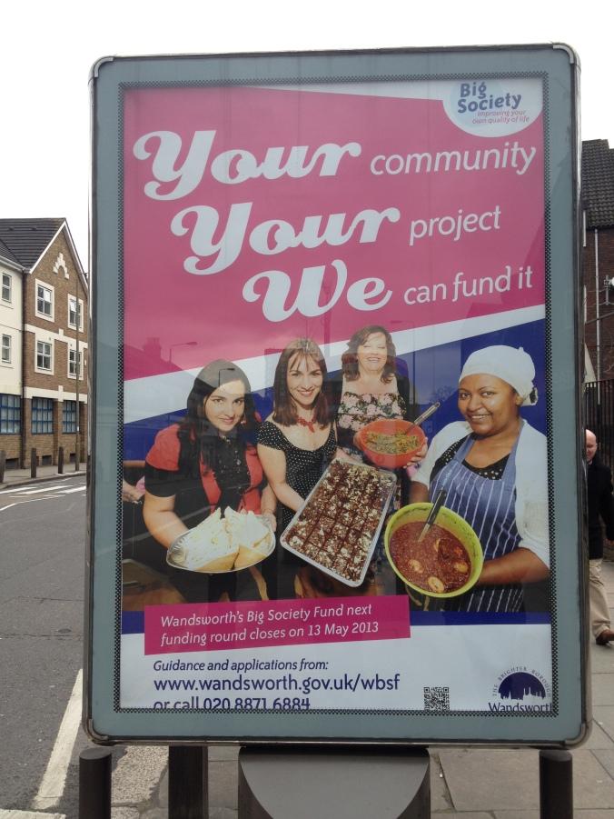Big Society Fund poster on Falcon Road, Battersea featuring Sandra, Senia and Hadas