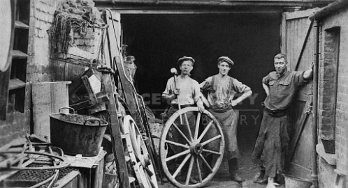 Blacksmiths Outside Their Smithy on Speke Road. London, Battersea, c1914