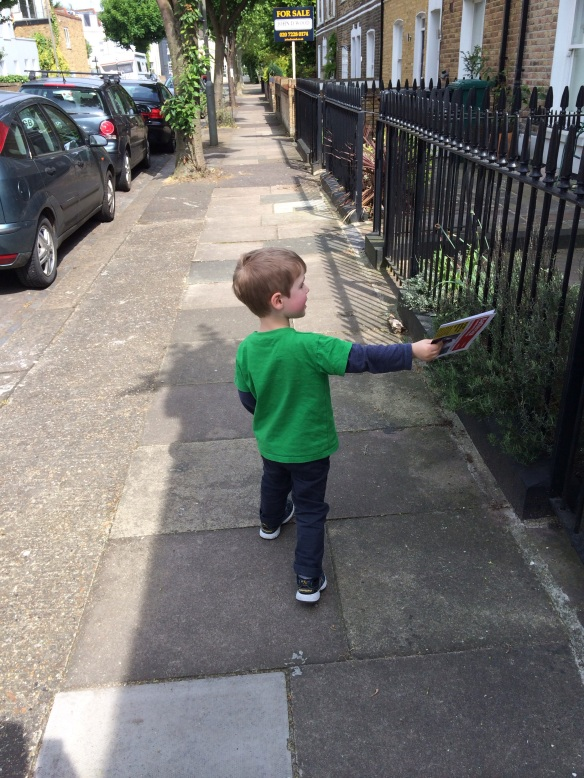 April: My 3-year-old son does his bit during the local election campaign