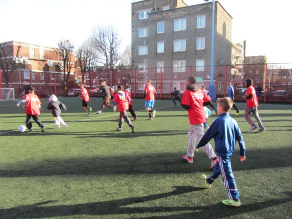Local children take part in the Community Kick About organised by Battersea Labour Party as part of the campaign to save Battersea Sports Centre