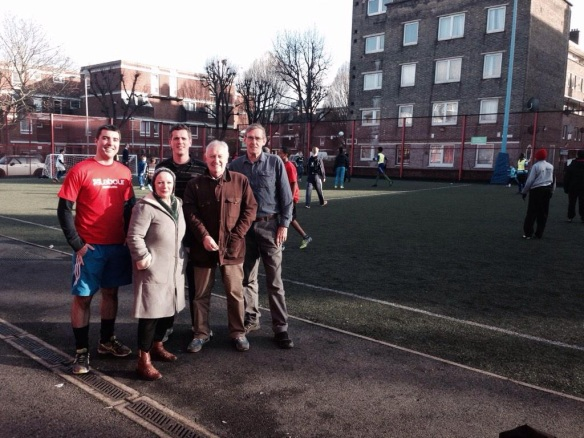 Will Martindale, Wendy Speck, Simon Hogg, Tony Belton and Martin Linton campaign to save Battersea Sports Centre from closure