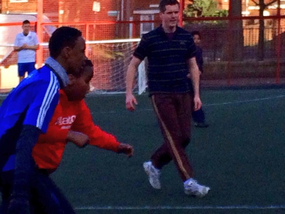 Simon Hogg plays in the Community Kick About organised by Battersea Labour Party as part of the campaign to save Battersea Sports Centre