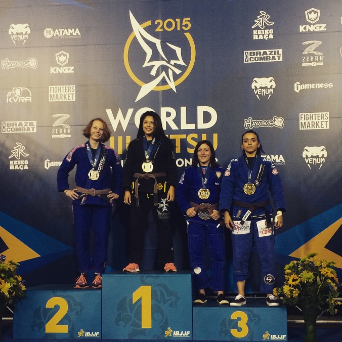Leoni Munslow (second from the right on the podium) wins bronze at the Brazillian Ju Jitsu  World Championships
