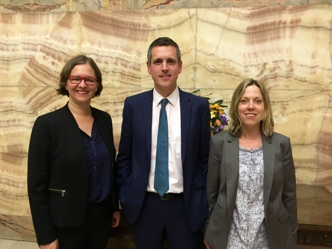 Wandsworth Labour leader Simon Hogg with deputy leaders Fleur Anderson and Candida Jones